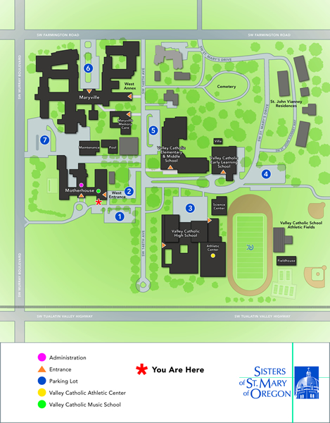 Map overview of Sisters of St. Mary of Oregon campus